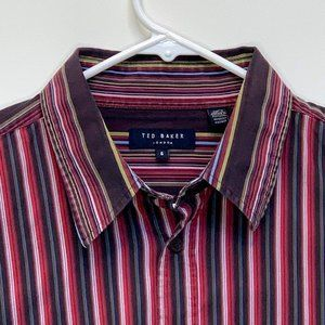 Ted Baker Mens Designer Shirt Multicolor Striped